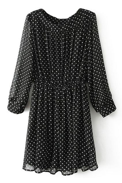 ROMWE | ROMWE Polka Dots Print Elastic Pleated Black Dress, The Latest Street Fashion