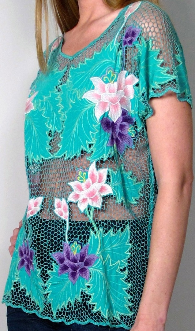 pink + purple flowers [teal Bali cutwork shirt]