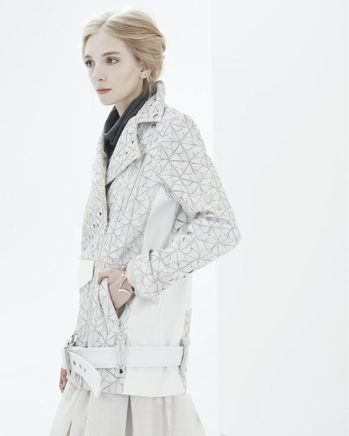 ALI ROSE : Arlene Oversized Moto Jacket - Laser Cut Lambskin White Leather Jacket - www.AliRose.com
