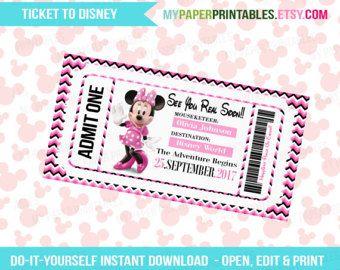 Printable Ticket to Disneyland/Disneyworld by SimpleJoysStudio