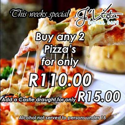 Je'Vista Social Café Jeffrey's Bay brings you yet another great special offer for the week. Buy any 2 Pizza's for only R110.00 and add a Castle Draught for only R15.00. Alcohol not served to persons under 18. #specials #cuisine #pizzaspecials