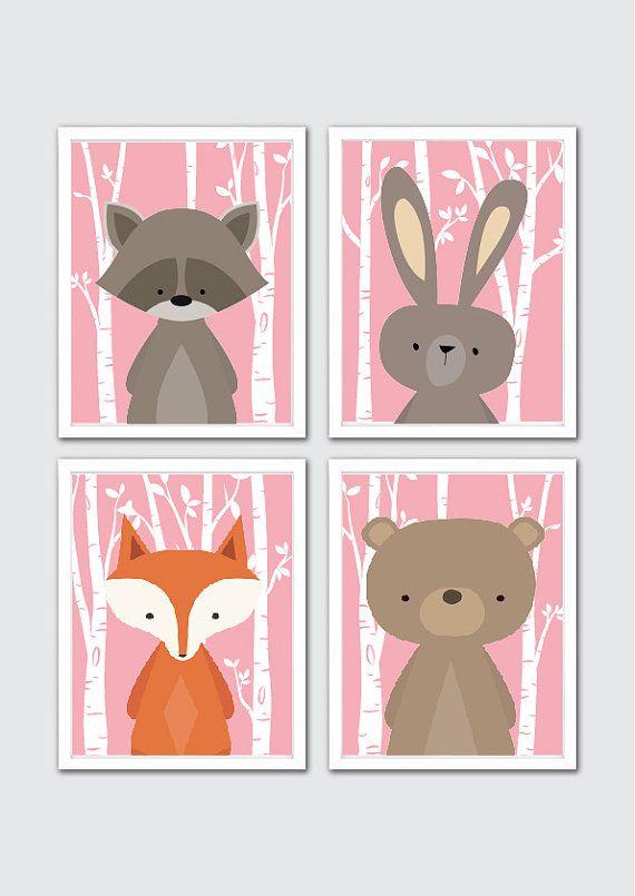 Wald Tiere Kinderzimmer Kunstdrucke Waschbär von RomeCreations