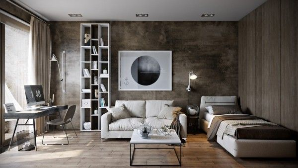 In this space from architect Pavel Vetrov, we move away from the grays into the more brown and coppery neutral tones. The walls in this home are done in varying textures, which makes the space feel quite modern, while creamy white furnishings complete the look.