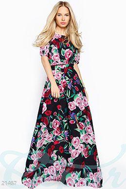 Gepur   Легкое платье принт арт. 21435 Цена от производителя, достоверные описание, отзывы, фото ,Цвет:розово-синий