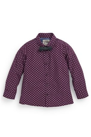 Spot Print Shirt With Bow Tie
