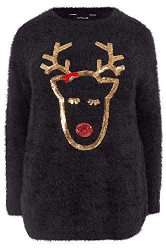 c93cdbebc09 Yours Clothing Women s Plus Size Sequin Reindeer Christmas Jumper Size 16  Black