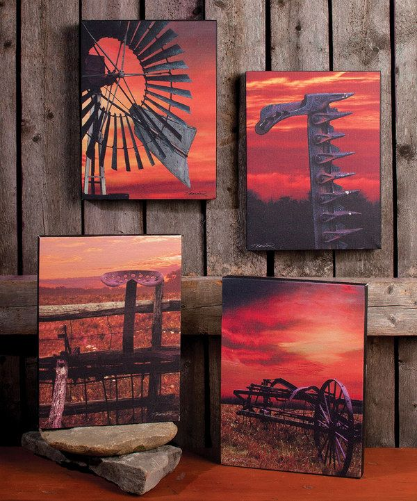 Look at this Sunset Farm Canvas - Set of Four on #zulily today!