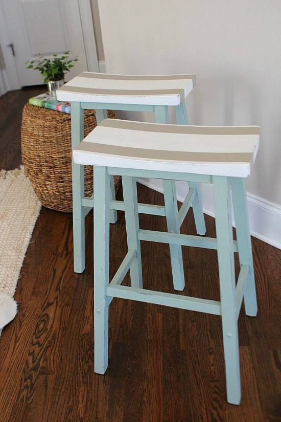 DIY Painted Furniture Makeover. Saddle Seat Bar Stools Get a Fresh Look. Perfect for Coastal, Lake and Beach Chic Home Decorating Styles! Refresh Restyle