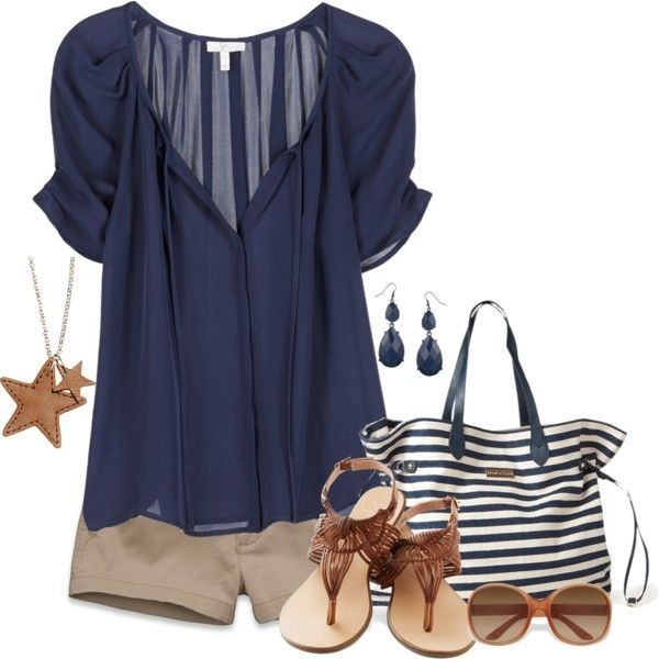 cute summer outfit: blue navy top, neutral bottoms, brown sandals--love  everything about this look!
