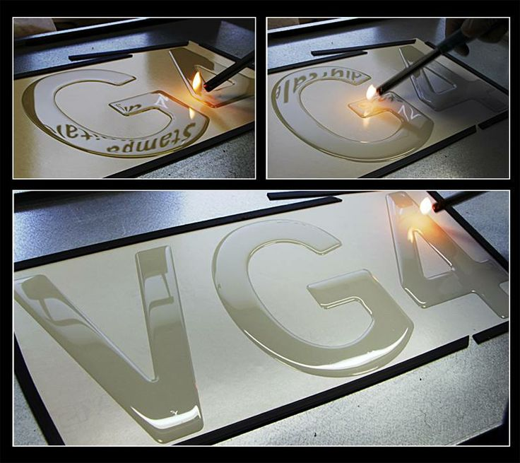 Rifinitura a fiamma di una scritta resinata. Made in Pubblinova