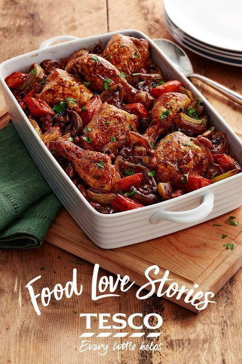 'Anna's' perfect coq au vin, inspired by her trips to France, is a gorgeous meal to rustle up midweek, loaded with tender chicken legs, veggies, smoky lardons and full-bodied red wine. | Tesco