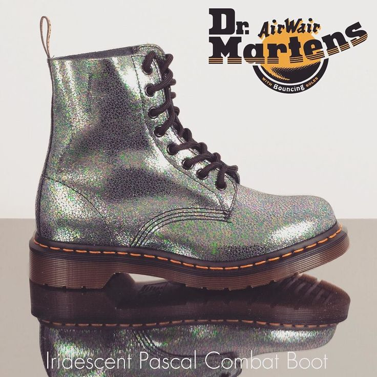 Dr. Martens Iridescent Pascal Combat Boot - Look cosmic in Dr. Martens Pascal iridescent combat boots. Featuring a crackled holographic leather that shimmers with different colors on the classic Dr. Marten 8 eyelet lace-up silhouette #spaceage #futurefashion #Iridescent #docmartens #combatboots