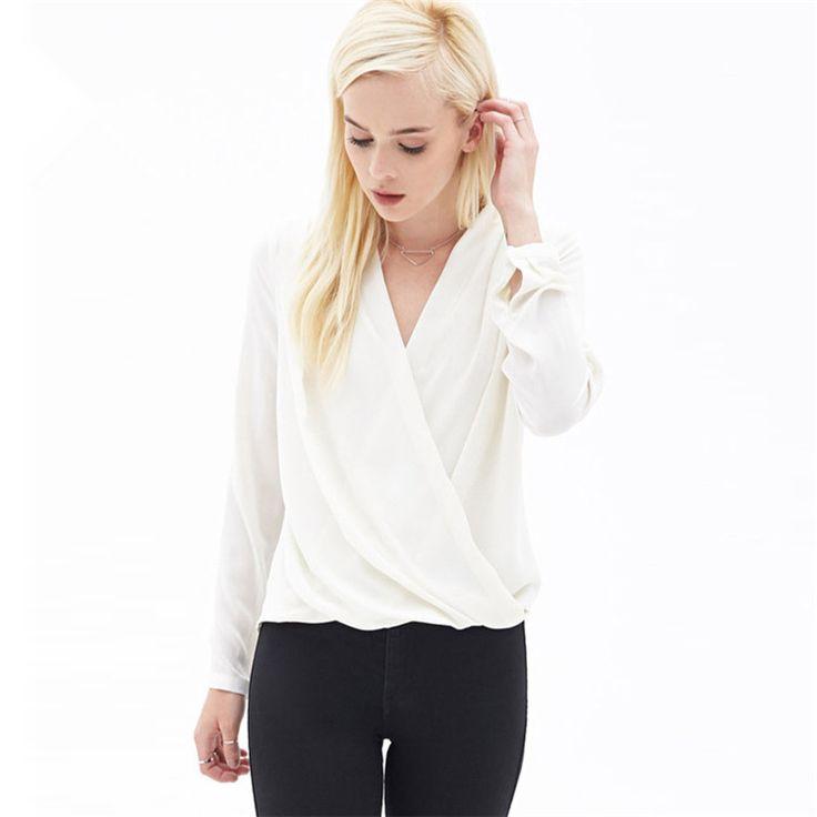 Новинка 2017 года летние женские рубашки шифон v образным вырезом Длинные рукава Модные свободные пикантные красивые блузки, рубашки купить на AliExpress