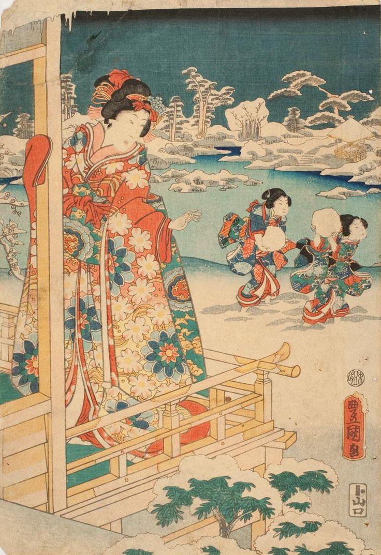 Woman Watching Children Throwing Snowballs Date1786-1865 Artist:Utagawa Kunisada I, Japanese, 1786-1864  Chrysler Museum