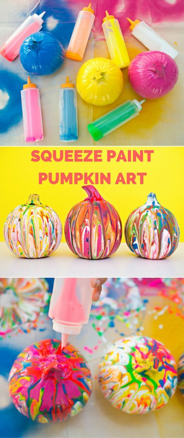 Squeeze Paint Pumpkin Art. Fun and easy no-carve pumpkin idea for kids.