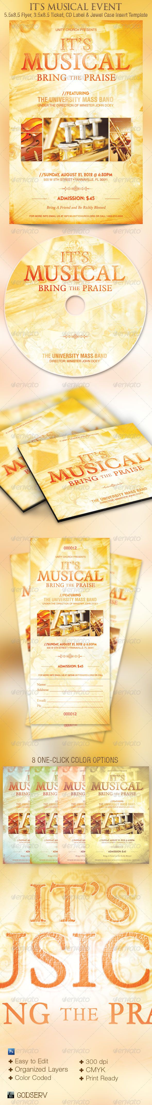 Its Musical Event Flyer, Ticket and CD Template - The It's Musical Event Flyer, Ticket and CD Template is geared towards usage for any kind of church musical or drama events. Use it for Musical Concerts, Choir Concert, Solo Artist Concert, Gospel Fundraising Concerts and more.  - Price $7.00