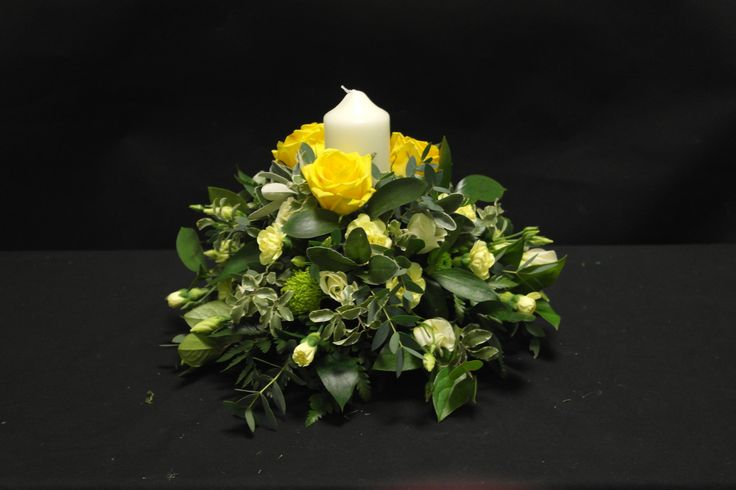 Posy arrangement with candle