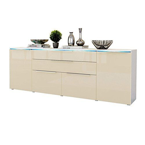sideboard cabinet triest in white matt cream high gloss. Black Bedroom Furniture Sets. Home Design Ideas