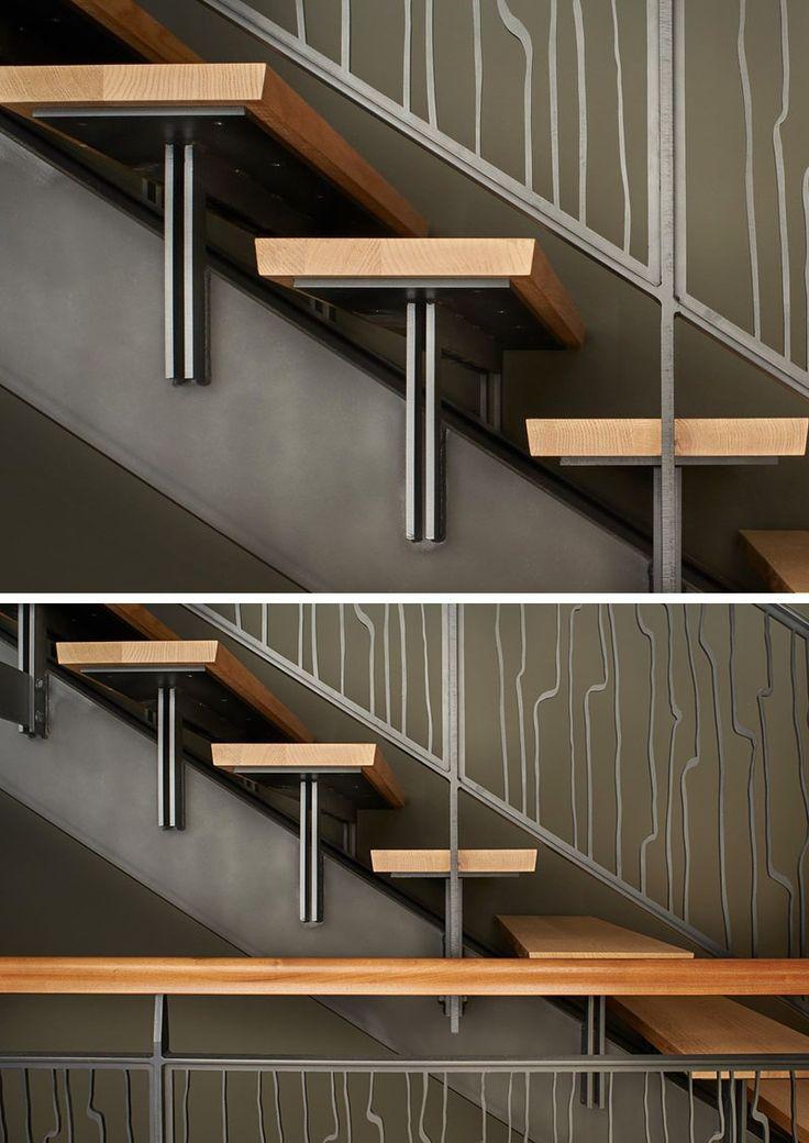 escalier intérieur à limon central en cier et marches recouvertes de bois