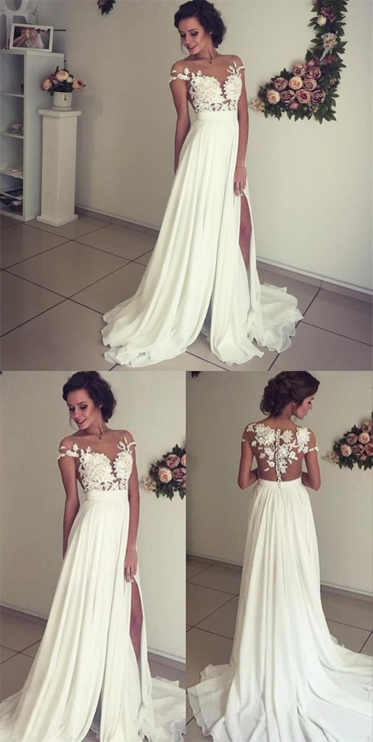 A-Line Lace Appliques Beach Wedding Dress with Cap Sleeves