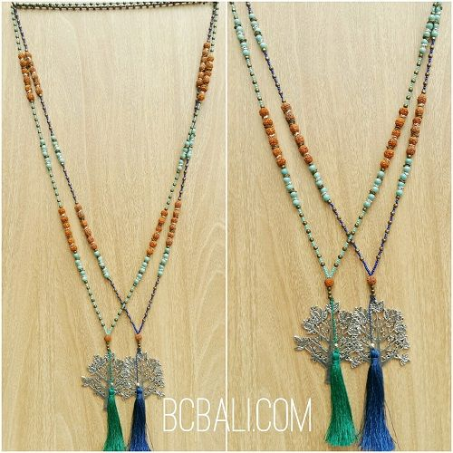 exotiq tassel bead mix two color pendant tree of life bronze - exotiq tassel bead mix two color pendant tree of life bronze