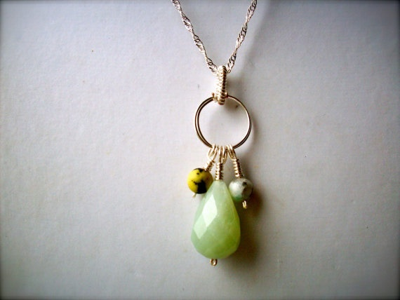 New Jade with Yellow Turquoise & Kiwi Jasper Wire by dgowin, $49.00