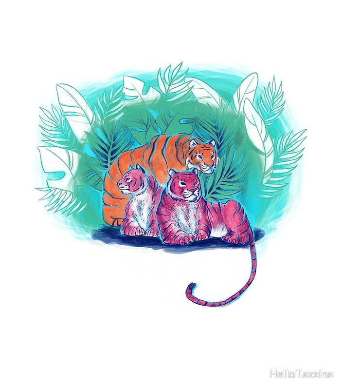 Three Tigers - Illustration - Digital Art - HelloTazzina