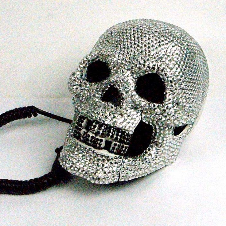 White Skull Telephone with Clear Diamantes