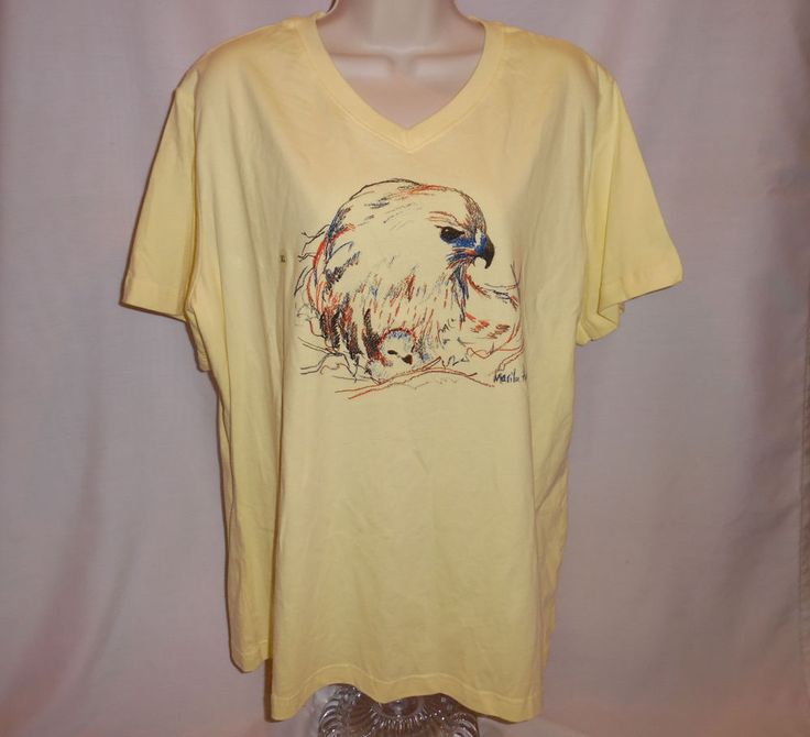 Wild Birds Unlimited T Shirt XL V Neck Hawk & Chick Cornell Lab of Orinthology #LAT #GraphicTee