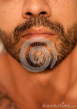 Close up photo of a human male beard and mustache.
