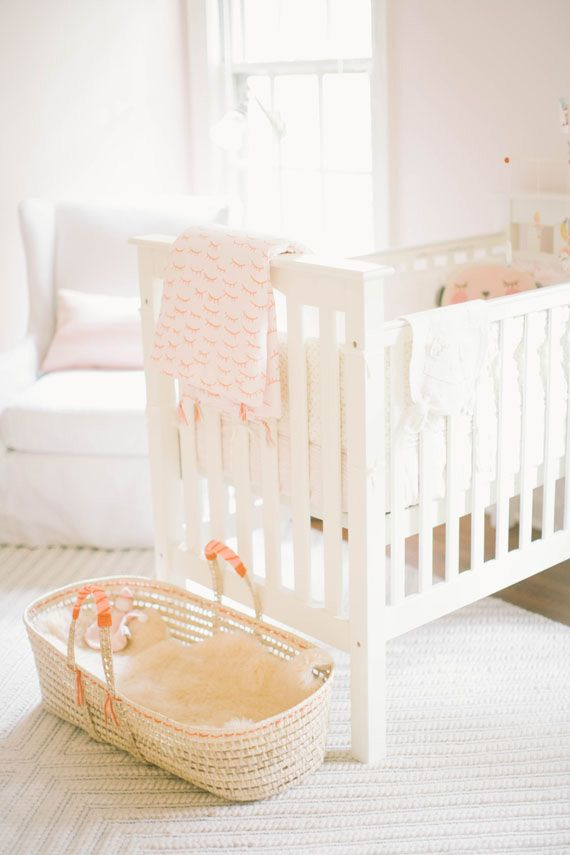 Soft peach vintage girl's nursery by Well Worn Co. | 100 Layer Cakelet #peach #nursery #modern