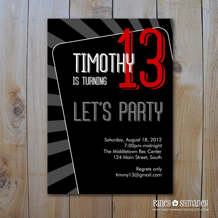design birthday party invitations free%0A Teen Boy u    s Birthday Invitation   Let u    s Party   Printable DIY Invitation  File   Item      b by