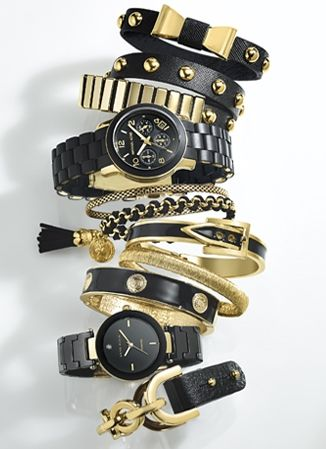 ♯Black&Gold ♯IHeartSwiss ♯StackedWrists ♯RushHour http://www.americanswiss.co.za/trends/womens-trends/black-and-gold/