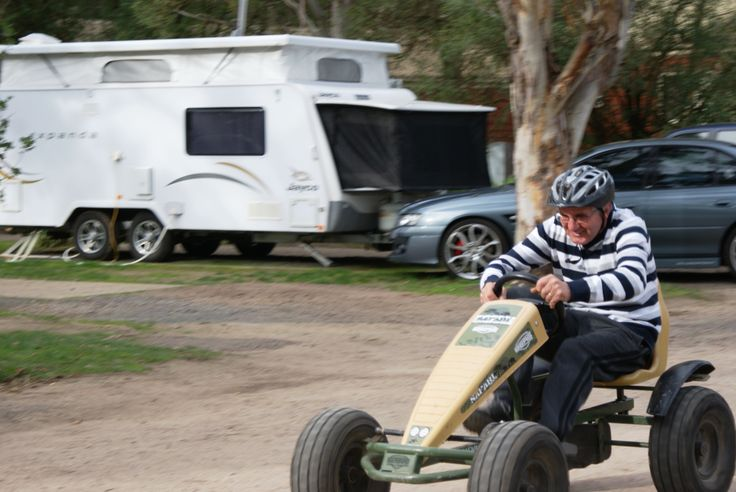 Time trial go karts around the caravan holiday park...