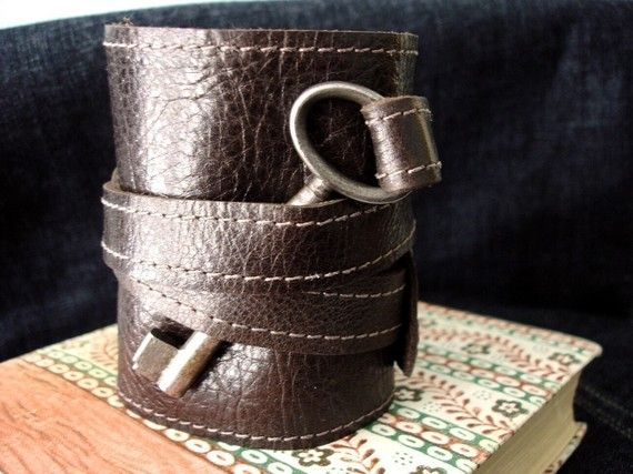 Brown Leather Wrap Cuff Bracelet with Antique by urbanheirlooms, $60.00. I love cuffs!