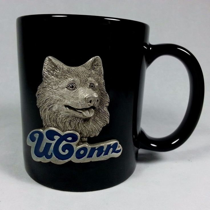 Uconn Huskies Basketball Logo Black Pewter Husky Mascot Emblem Coffee Mug Cup #GreatAmericanProducts #UConnHuskies