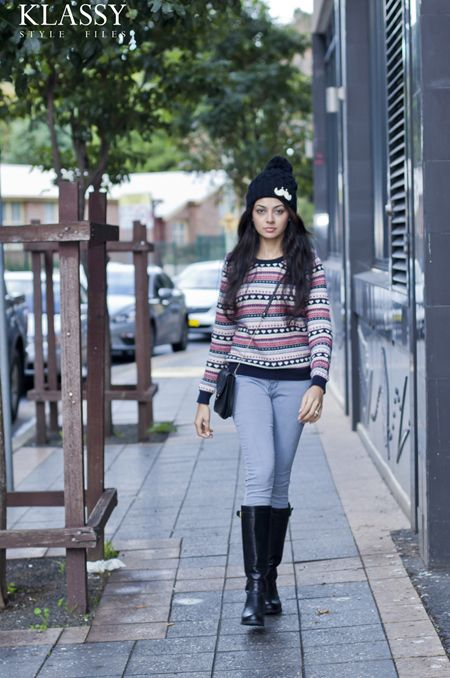 winter weekend outfit with beanie