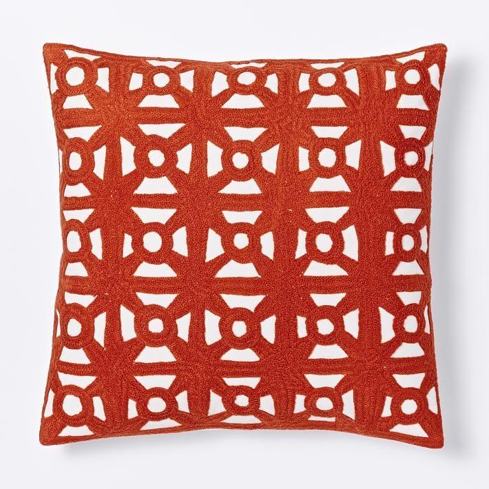 Modern Crewel Lattice Pillow Cover - Cayenne