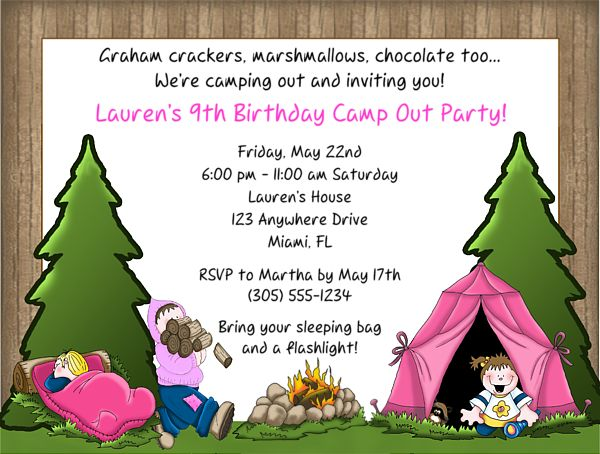 Camp Out Camping Birthday Party Invitations Girl  $1.00 each http://www.festivityfavors.com/item_105/Camp-Out-Camping-Birthday-Party-Invitations-Girl-2.htm