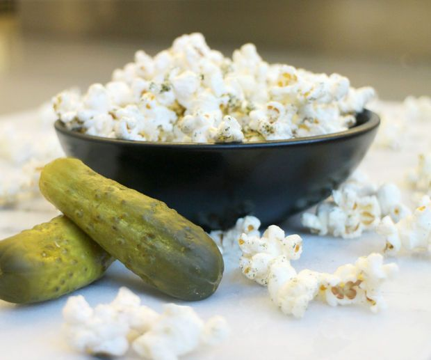 Dill Pickle Popcorn #recipe #snack - sub coconut oil/ evoo/ grapeseed oil for butter
