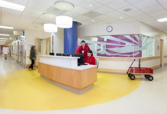 PHOTO TOUR: Riley Hospital for Children   Healthcare Design --- Staff suggested the use of rubber flooring on patient floors. This flooring has a lower maintenance cost, has higher sound absorption, and is healthier to walk on than some other options. Photo: Susan Fleck