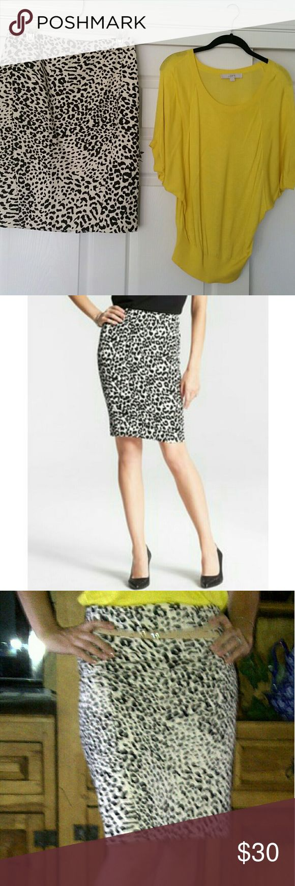 Sexy Loft leopard pencil skirt and blouse bundle! Like new Loft pencil skirt sz 6 with Loft shirt sz S. Both like new. Actual outfit pictured. LOFT Skirts Pencil