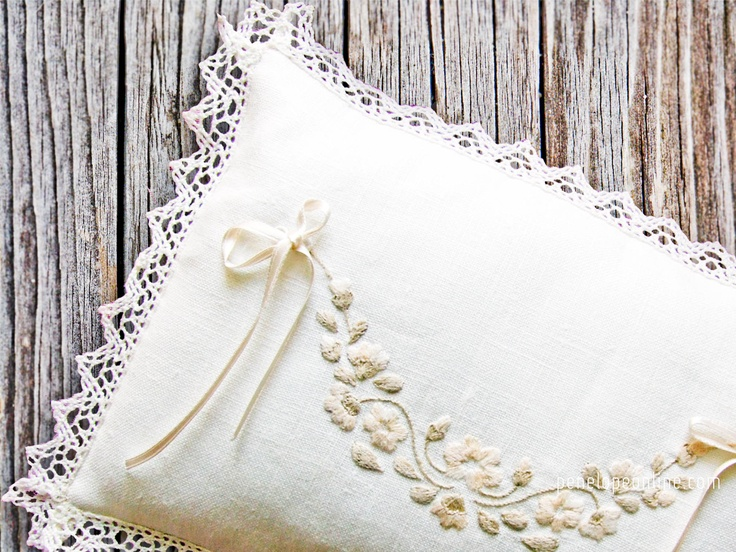 wedding ring pillow hand embroidered