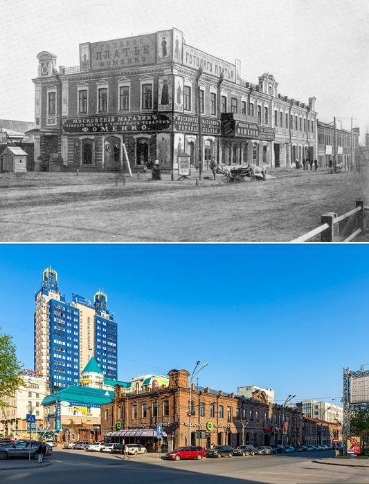 Здание «Новониколаевское подворье» построено купцом Иваном Тимофеевичем Суриковым.