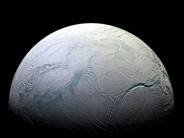 "Saturn's Moon ""Enceladus"" is known for its bright icy surface, tectonic features, and water geysers."