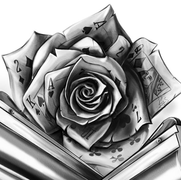 После того ка нарисовала две розы пришло в голову и название подходящего фильма. Карты, деньги, два ствола :)Follow you:http://instagram.com/polly_cgart