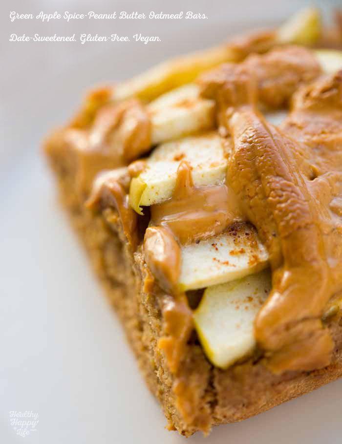 Green Apple Spice, Peanut Butter Oatmeal Bars. Date-Sweetened!