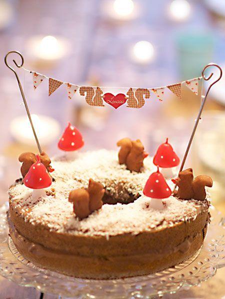 Bolo para aniversário infantil com tema floresta ou bosque. (Cute woodland cake)