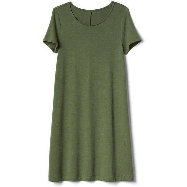 Gap Women Softspun Short Sleeve T Shirt Dress (£46) ❤ liked on Polyvore featuring dresses, jungle green, tall, green short sleeve dress, green jersey, t shirt dress, tall dresses and short sleeve jersey dress
