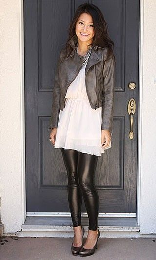 how to wear a leather jacket: over a tunic and leggings